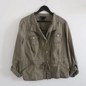 LANE BRYANT Olive Green Utility Button Jacket